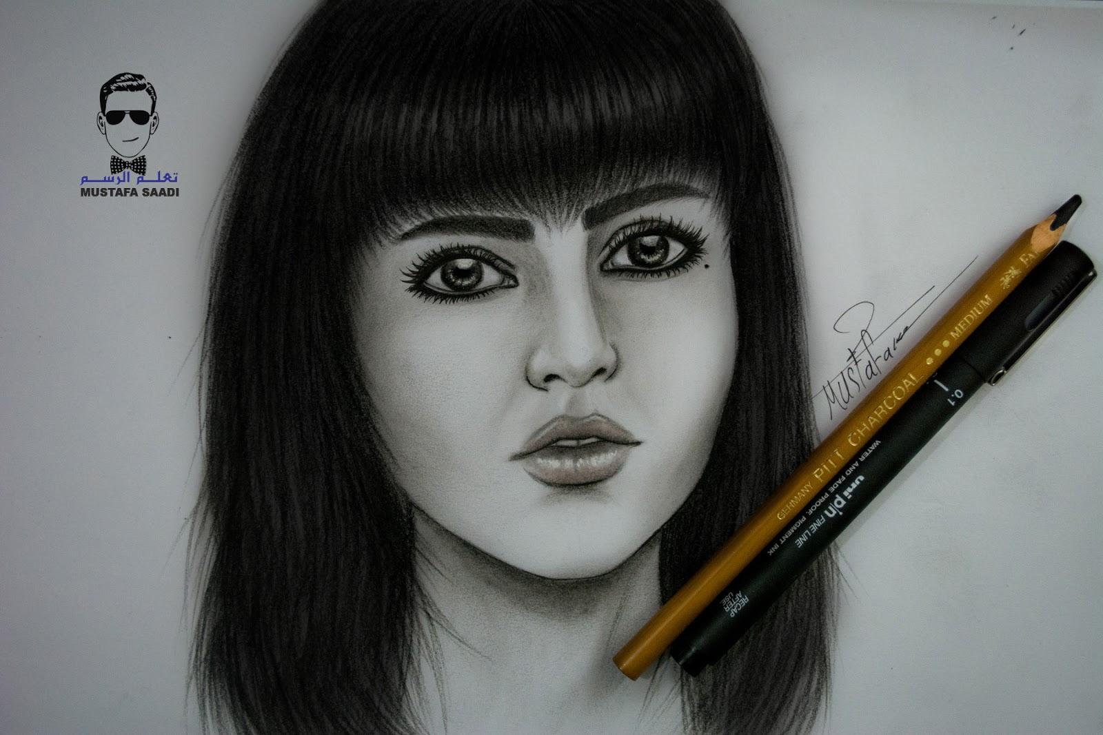 خطوات رسم بورتريه بالفحم Drawing Girl With Charcoal تعلم الرسم