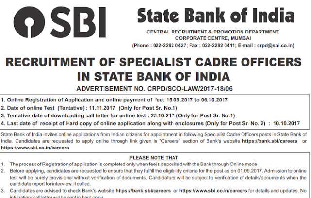 SBI SO Specialist Officer Recruitment 2017 Apply 41 DM Law Posts