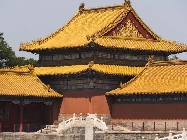 Golden rooftops of the Forbidden City in Beijing China