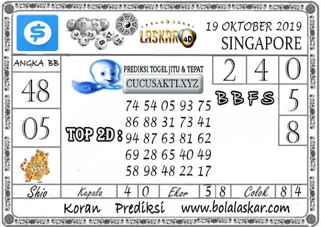 Prediksi Togel SINGAPORE LASKAR4D 19 OKTOBER 2019