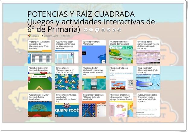"""""""15 juegos y actividades interactivas sobre POTENCIAS Y RAÍZ CUADRADA en 6º de Primaria"""""""