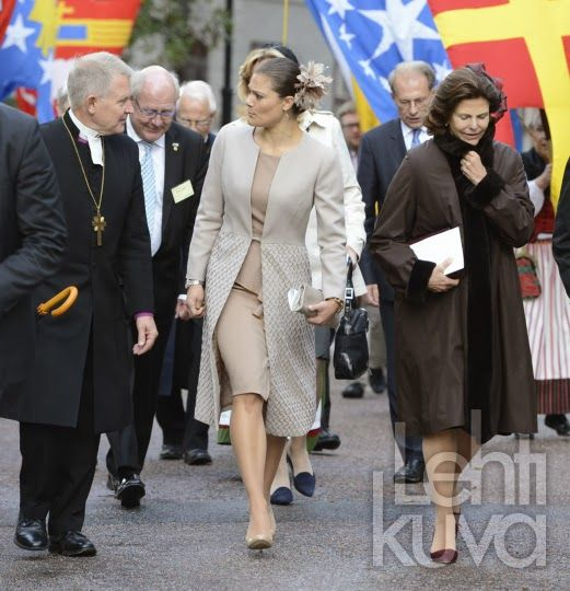 Queen Silvia and Crown Princess Victoria attend the opening of the General Synod at Uppsala Cathedral