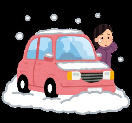 雪で立ち往生した車のイラスト(女性)