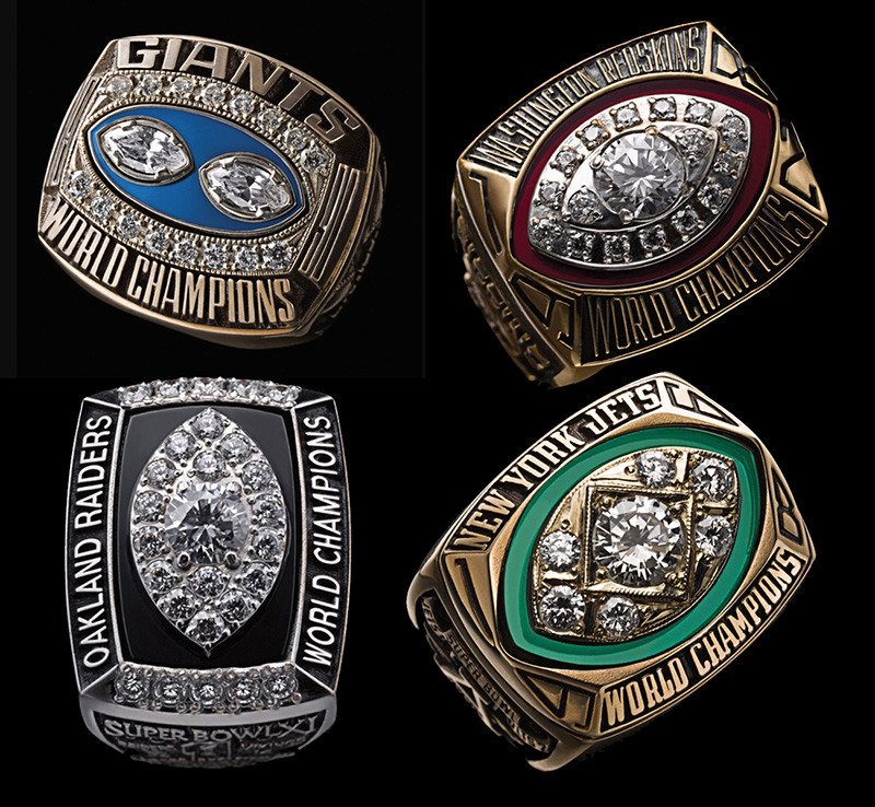 super bowl rings with enamel