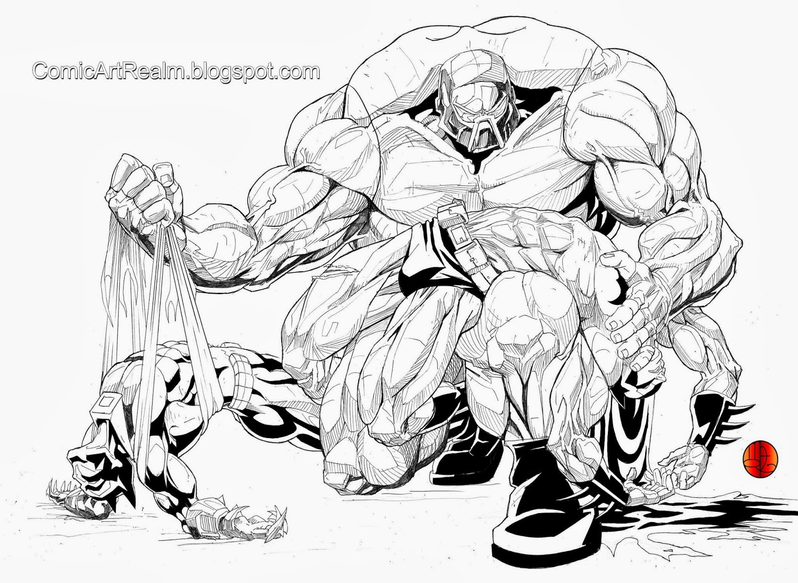 Comic Art Realm Bane Breaking Batman And Azrael