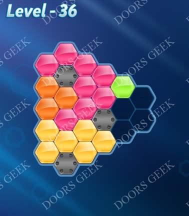 Block! Hexa Puzzle [5 Mania] Level 36 Solution, Cheats, Walkthrough for android, iphone, ipad, ipod