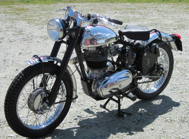Old fashioned looking motorcycle.
