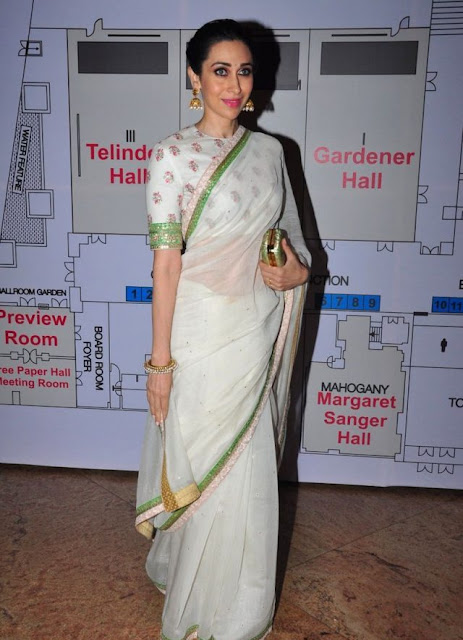 Karisma Kapoor in White Saree Blouse for Smart Doctor's Conference in Mumbai