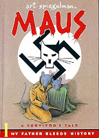 cover of Maus by Art Spiegelman. Shows a swastika with a cat and two scared mice