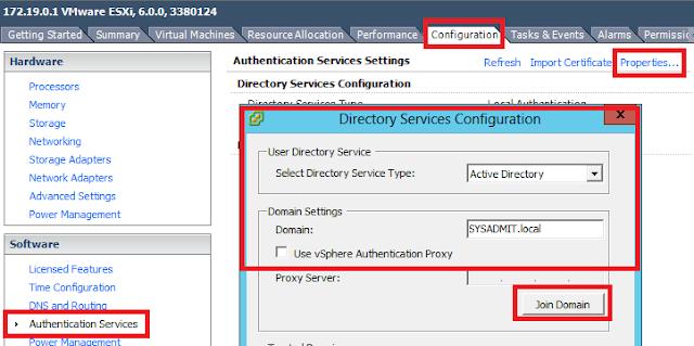 Vista VSphere client, añadir ESXi al dominio