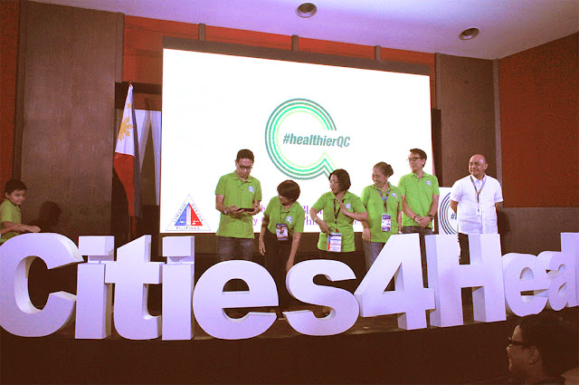 #HEALTHIERQC. Representatives of Cities4life, including from the Quezon City Health Department, grace the stage during the launch of #healthierQC at the Far Eastern University in Diliman. #healthierQC is the Quezon City Government's youth-oriented health information campaign addressing obesity and the many illnesses that may come from it.