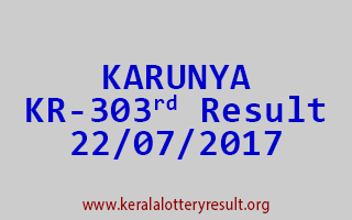 KARUNYA Lottery KR 303 Results 22-7-2017