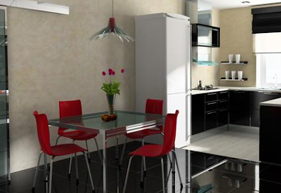 desain ruang makan berbahan besi stainles