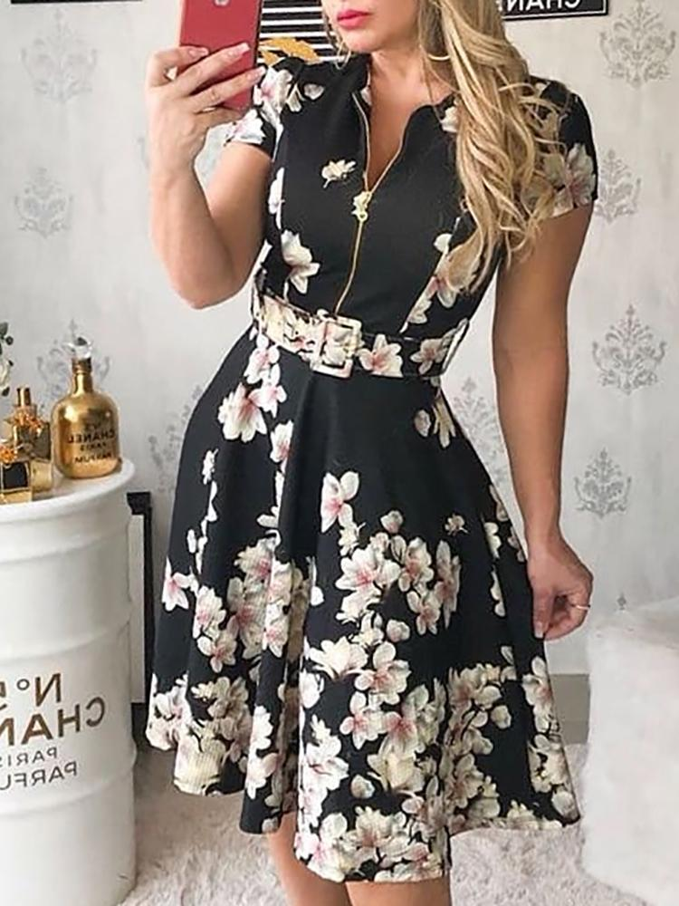 Floral Print Off Zipper Belted Pleated Dress