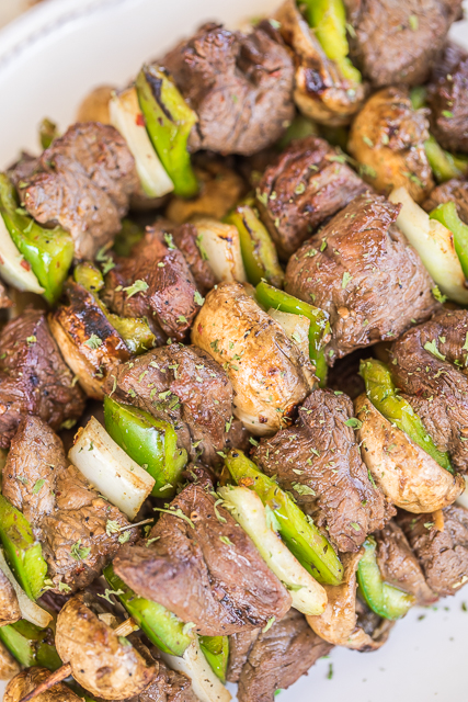 Beef Kabobs - CRAZY good!! Steak and vegetables marinated in a combination of Italian dressing, Dale's Steak Seasoning, Greek Seasoning and Onion powder. The flavor was fantastic!! Everyone RAVED about the kabobs! Feel free to use your favorite vegetables on the kabobs - onions, mushrooms, bell pepper, tomatoes, squash and zucchini. Tastes great leftover too!