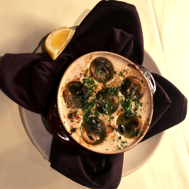 Getting a little fancy with Escargot en Champignon at Palm Court in Arlington Heights