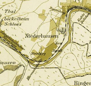 Weinlage Steinberg auf der historischen Nahe-Weinbau-Karte für den Regierungsbezirk Koblenz Jahre 1901