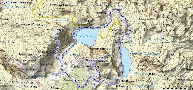 Mapa ruta Lagos de Covadonga PR PNPE-2