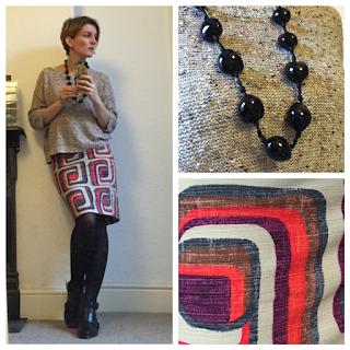 Topshop golden knit jumper and Boden retro print skirt