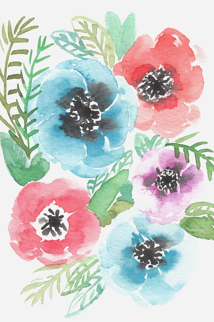 free watercolor flower printable for personal, non-commercial use- growcreative