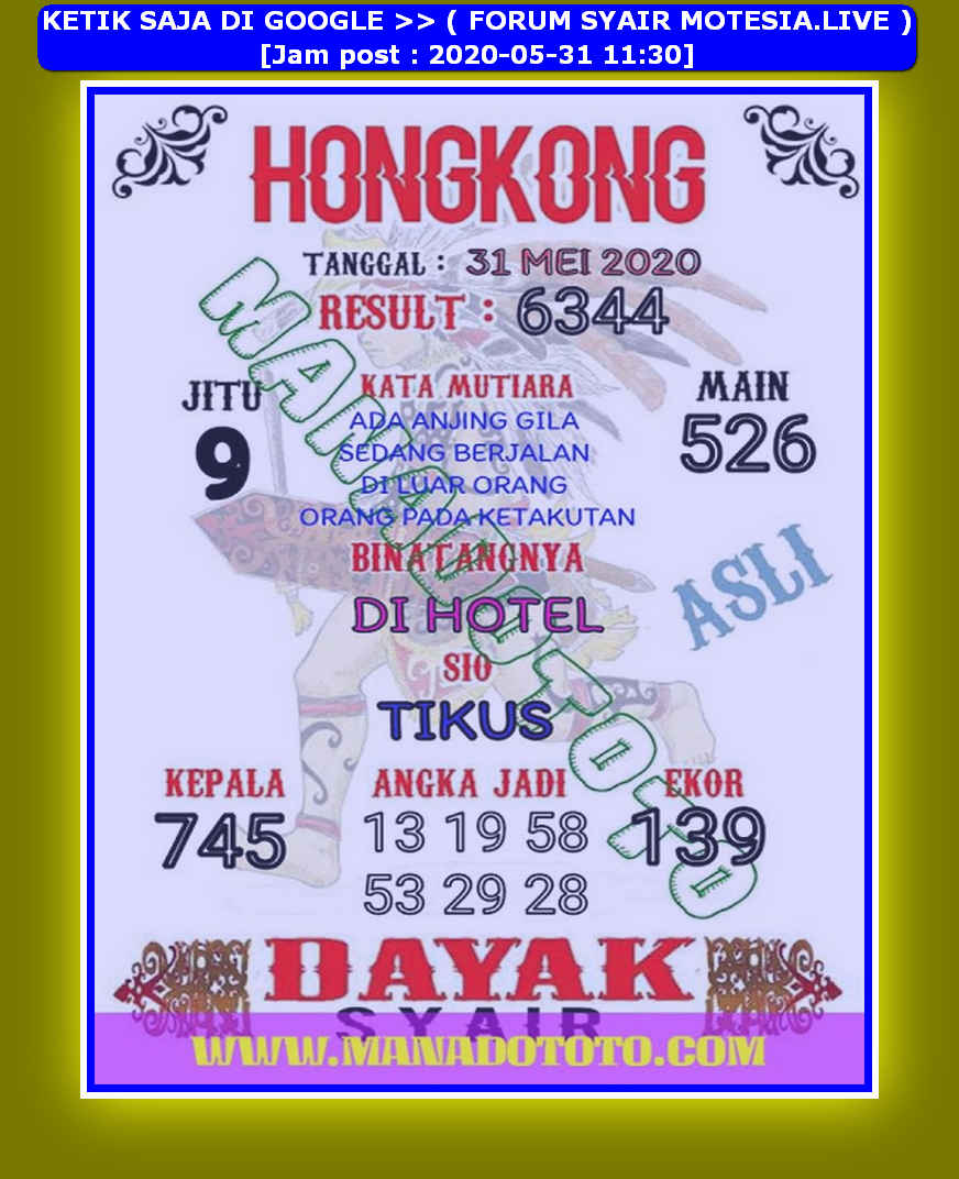 Kode syair Hongkong Minggu 31 Mei 2020 78