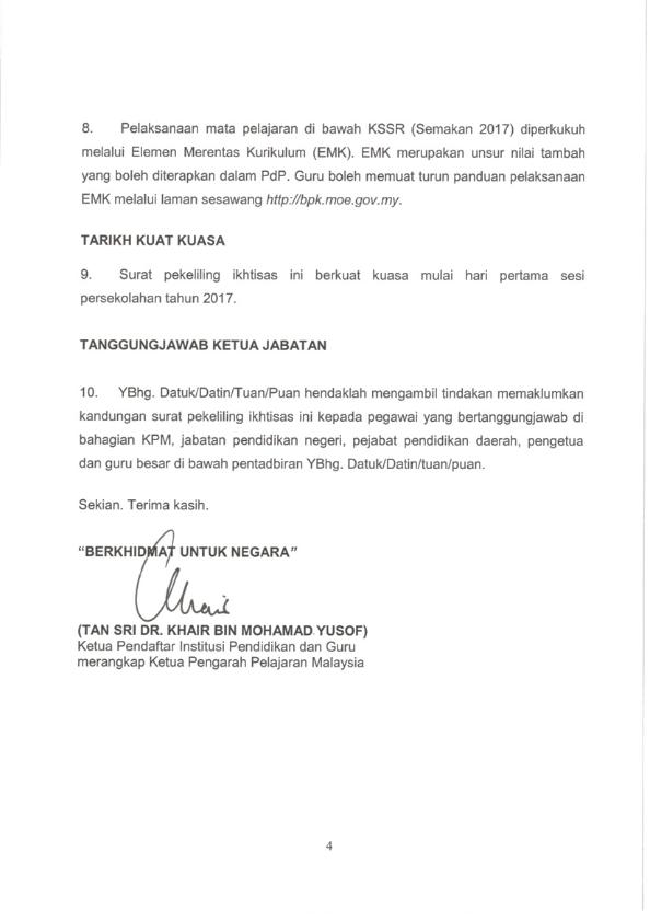 Surat Pekeliling Ikhtisas Kementerian Pendidikan Malaysia Bilangan 8 Tahun 2016 Pelaksanaan Kurikulum Standard Sekolah Rendah Semakan 2017 Secara Berperingkat Peringkat Mulai Tahun 2017
