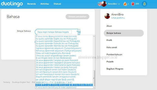 pilihan bahasa duolingo app
