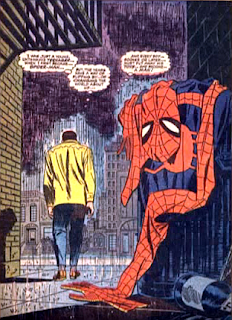 Amazing Spider-Man #50, John Romita, as rain falls, peter parker walks away from the trash can in which he has dumped his costume