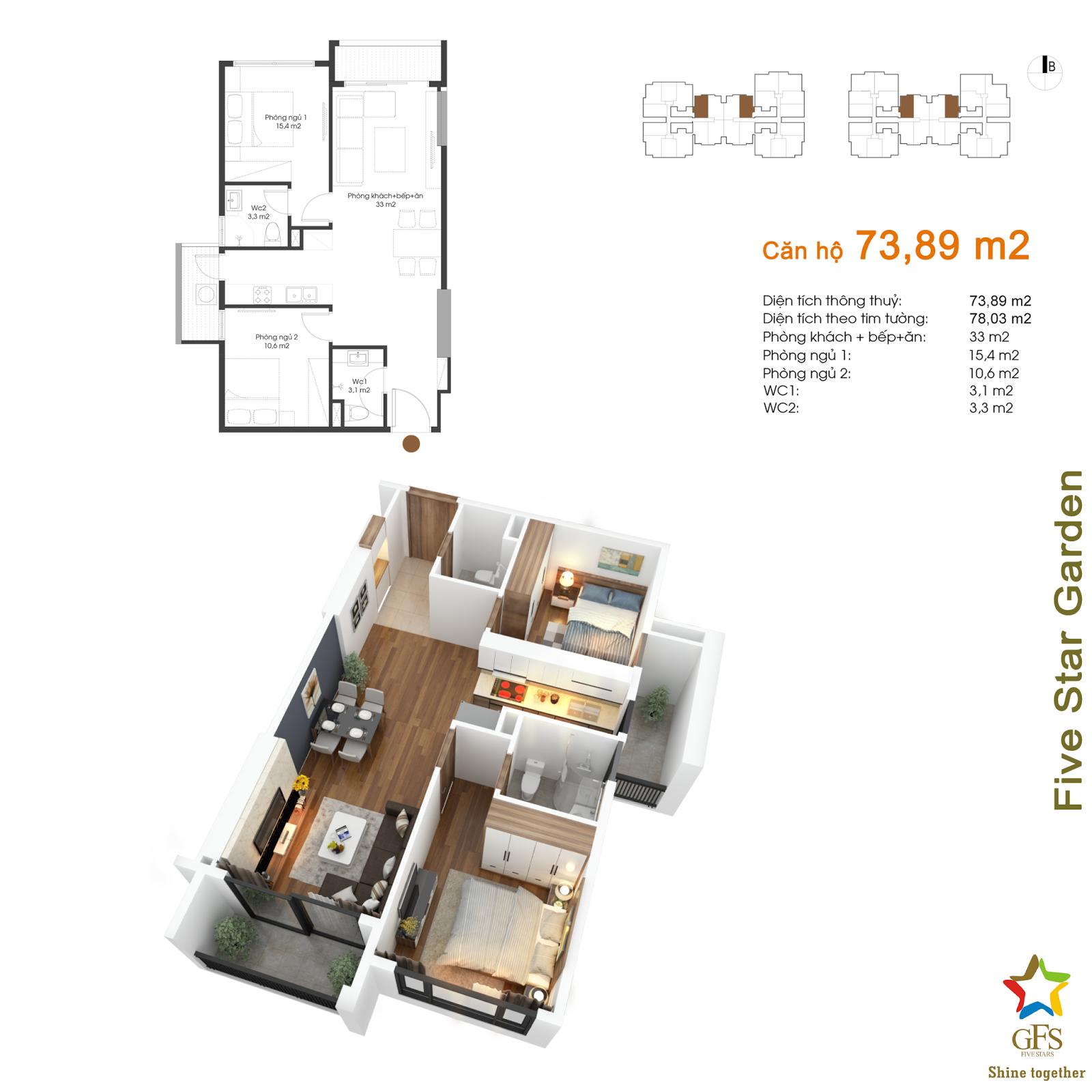 Thiết kế căn hộ 73,89 m2 Five Star Kim Giang