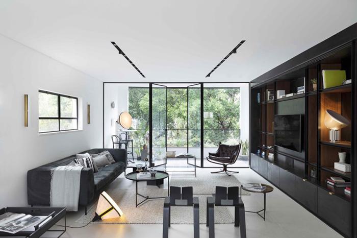Thiết kế nội thất căn hộ chung cư 150m2 với hai màu đen trắng- 1