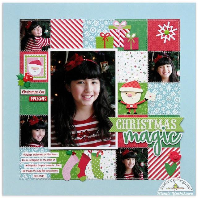 Doodlebug Here Comes Santa Christmas Layout by Mendi Yoshikawa