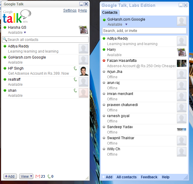 Download google talk labs edition.