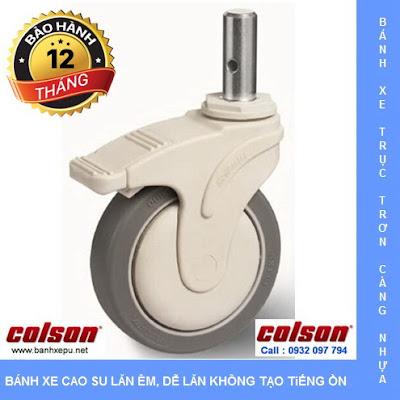 Bánh xe trục trơn Colson có khóa càng nhựa 5 inch | STO-5851-448BRK4 banhxedayhang.net