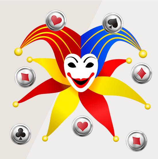 fondo con la cara de un joker típico de las cartas, el juego y los casinos