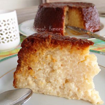 Martinique, cuisine antillaise, sweet kwisine, gateau, riz, riz au lait, caramel, rice pudding, cake, rhum, vanille, cannelle, plaisir d'enfance