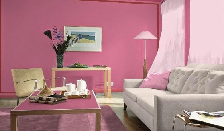 sala decorada rosa