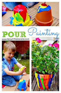 Easy art idea for kids. DIY pour painting flower pots use a fun painting technique. This rainbow craft makes a perfect Mothers Day or teacher kid made gift.