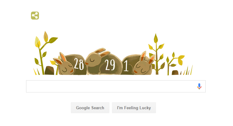 Google Doodle celebrated with Bunnies Leap Year 2016