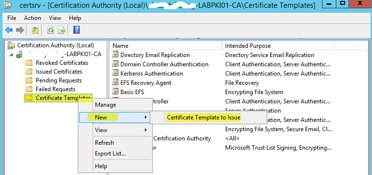 How to deploy active directory certificate services on windows back on the certification authority window right click certification template new certificate template to issue yelopaper Image collections