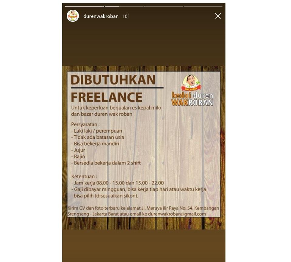 Kerja Freelance di Duren Wakroban Gaji Dibayar Mingguan