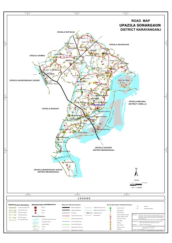Sonargaon Upazila Road Map Narayanganj District Bangladesh