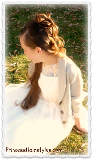 Elegant half up hairstyle, cascading curls and chains