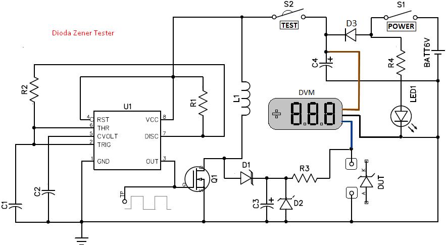 skema rangkaian tester dioda zener