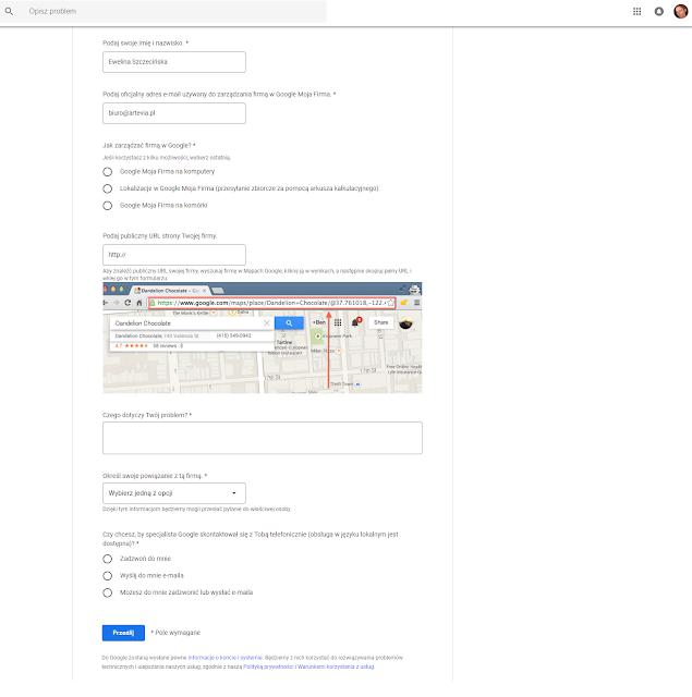 formularz zgłoszenia do Google Moja Firma