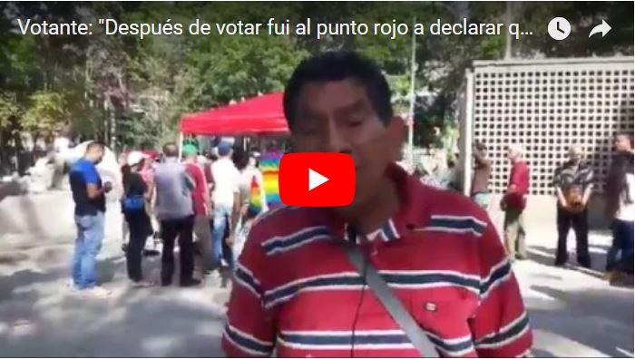 Chaburro declara que luego de votar tuvieron que ir a los Puntos Rojos para cobrar