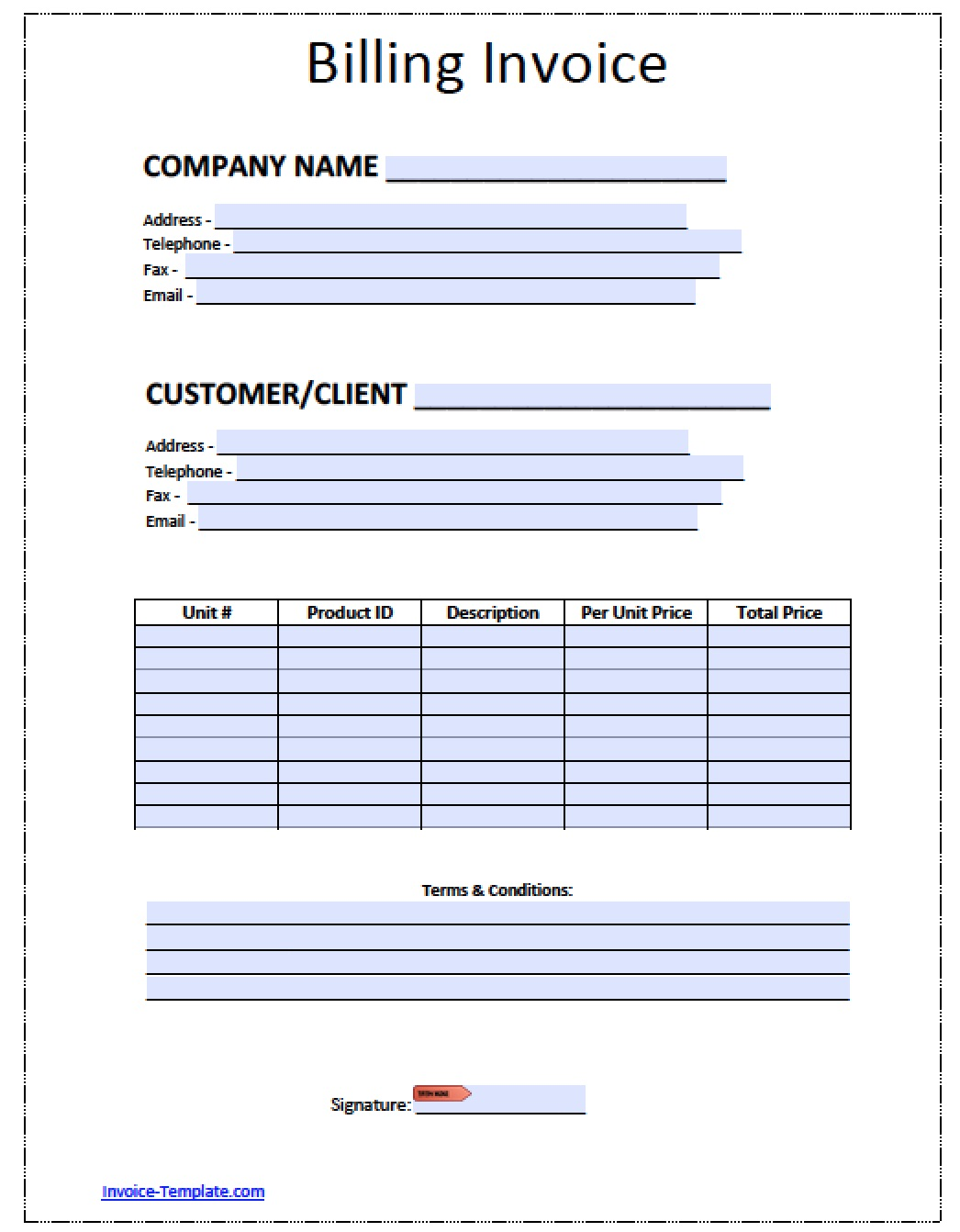 free blank invoice template for excel