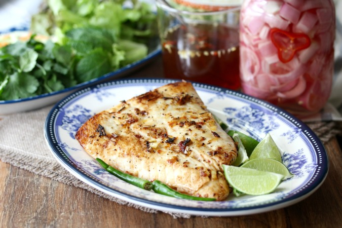 Vietnamese-Style Pan Fried Halibut with Lemongrass and Nước Chấm Dipping Sauce
