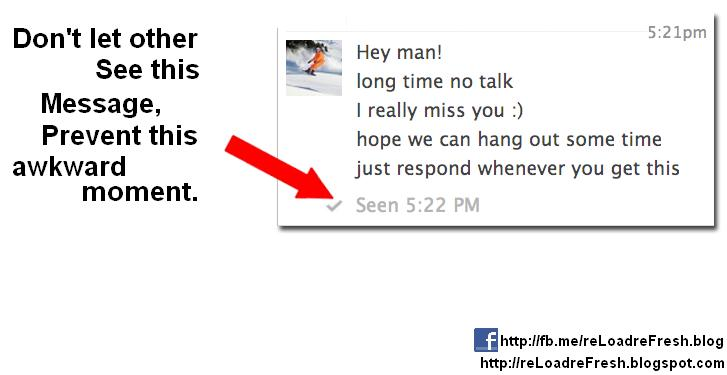 """Disable """"SEEN at HH:MM"""" message in FB, when you see others ..."""
