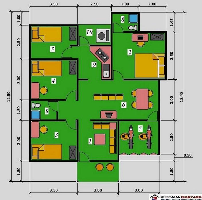 denah rumah minimalis 3 kamar kreatif