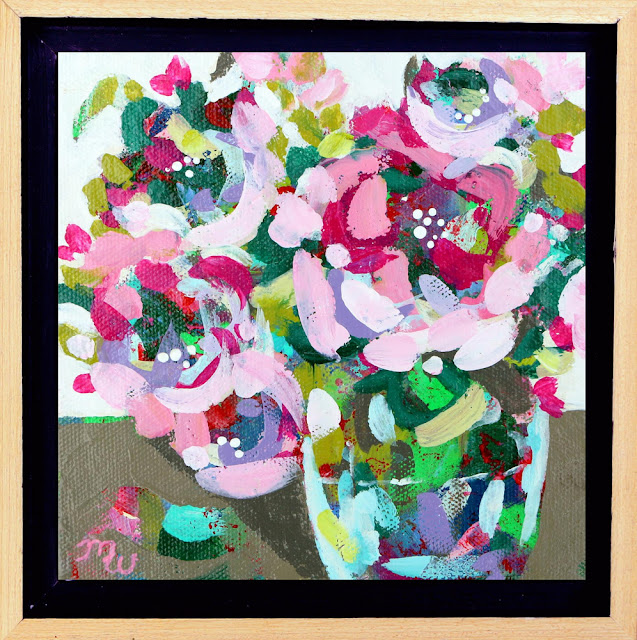 Floral painting by artist Merrill Weber, one in a series of floral minis, as seen on Instagram and Facebook